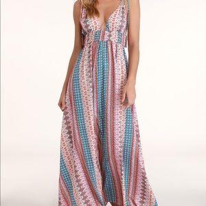 Lulu's MAXIN' RELAXIN' MULTI PRINT MAXI DRESS